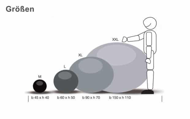 Expandpouf Größen