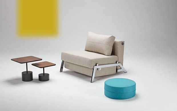 Innovation Schlafsofa Cubed 90 beige frontal