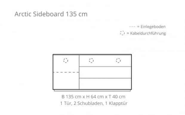 Arctic Sideboard 135 cm (Voice) Skizze