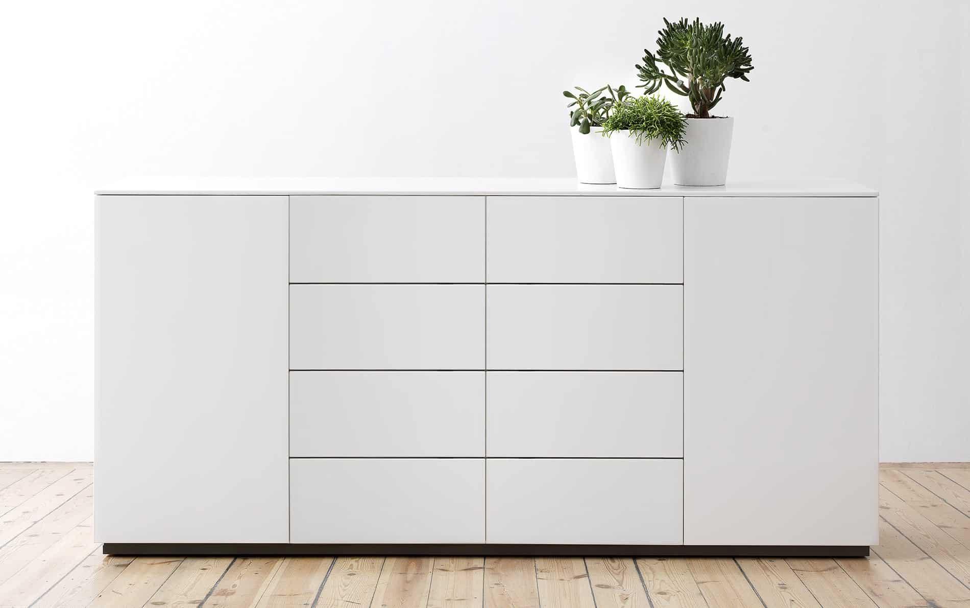 voice arctic sideboard 180 cm breit mit 8 schubladen. Black Bedroom Furniture Sets. Home Design Ideas