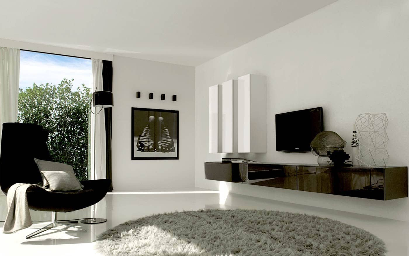 lowboard mit vitrine hangend in weis ihr traumhaus ideen. Black Bedroom Furniture Sets. Home Design Ideas