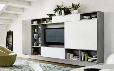 Tv wohnwand design wohnwand wei hochglanz modern vom designer