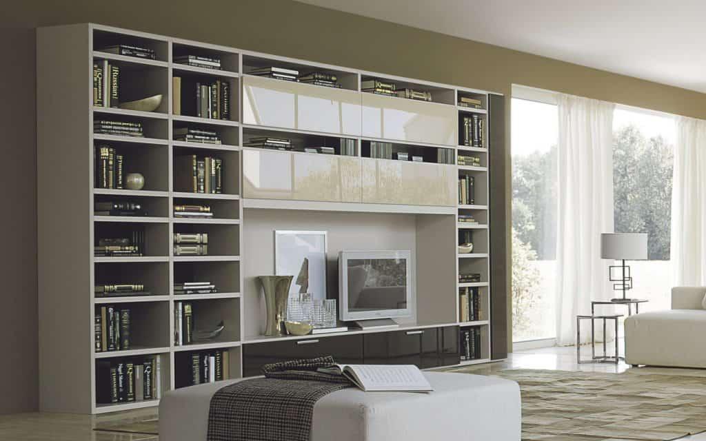 b cherregal mit tv element. Black Bedroom Furniture Sets. Home Design Ideas