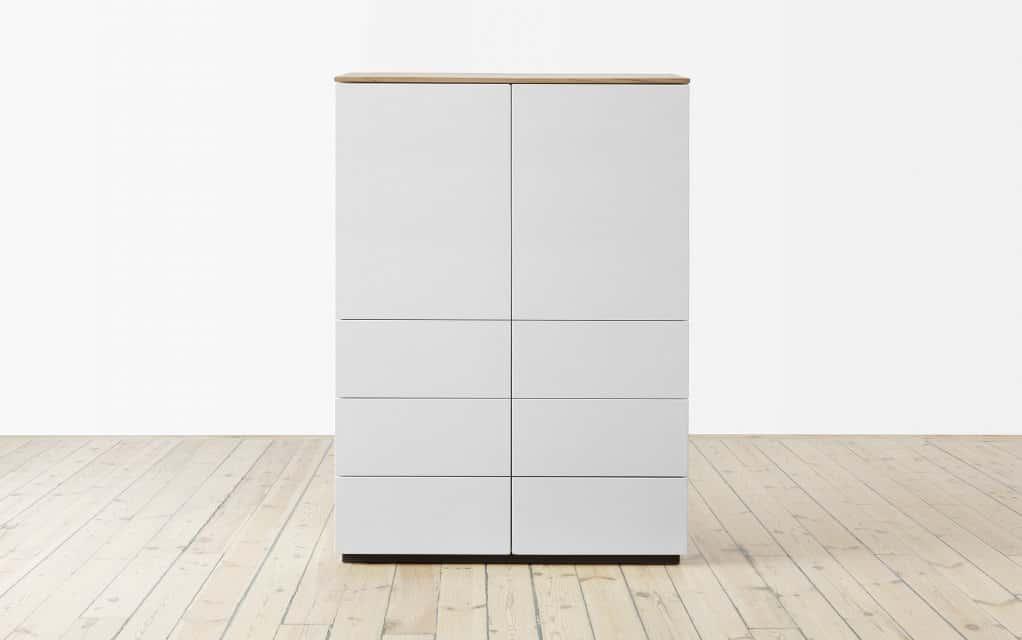 voice arctic highboard 90 cm breit mit 6 schubladen. Black Bedroom Furniture Sets. Home Design Ideas