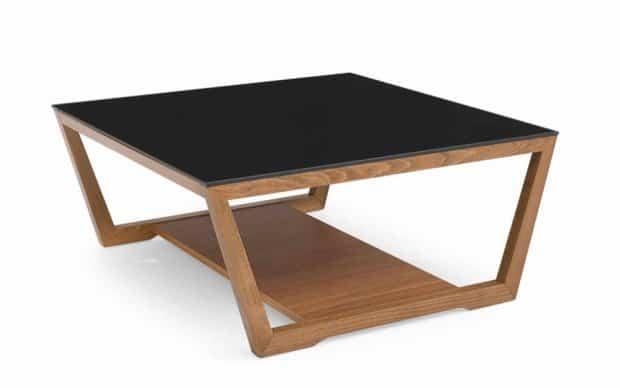 Couchtisch Element 80x80 (Calligaris Tische) - Gestell in Nuss & schwarze Tischplatte