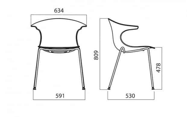 Infiniti Stuhl Loop San technische zeichnung