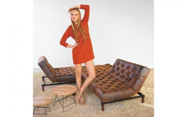 Innovation Oldschool Chair in Kombination mit Oldschool Schlafsofa Farbe Vintage