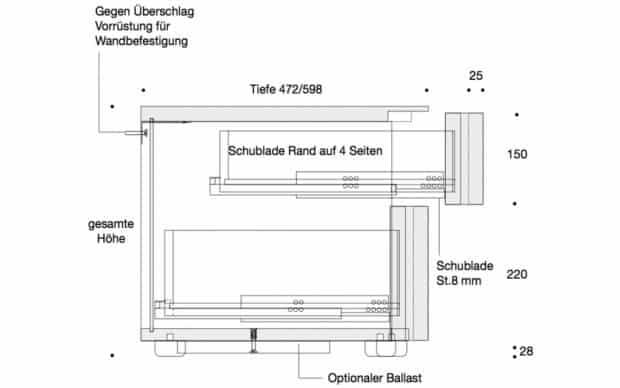 Nachttisch Sosia technische Zeichnung