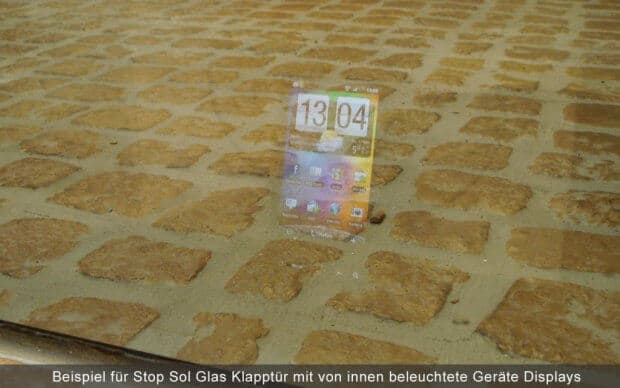 Display hinter Stop Sol Glas