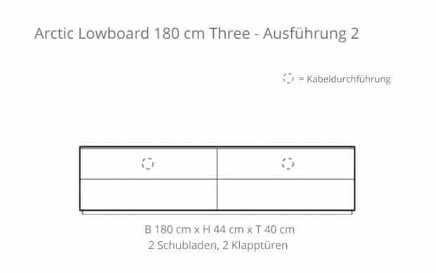 Arctic Lowboard 180 cm Three (Voice) Skizze - 2 Schubladen & 2 Klapptüren