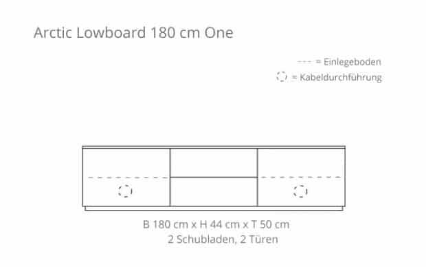Arctic Lowboard 180 cm One (Voice) 2 Schubladen - Skizze
