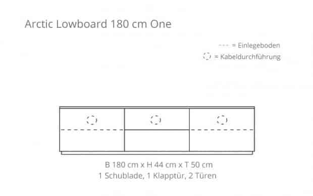 Arctic Lowboard 180 cm One (Voice) mit Klapptür - Skizze