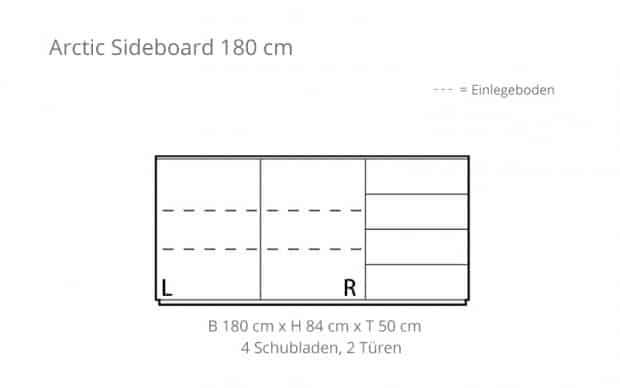 Arctic Sideboard 180 cm (Voice) Skizze