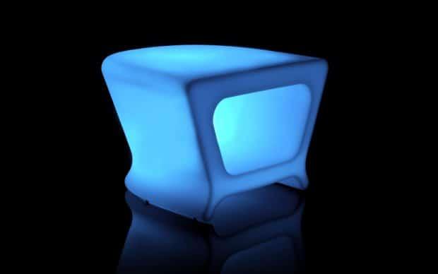 Vondom Pal Mesa Taburete Tisch Hocker led blau