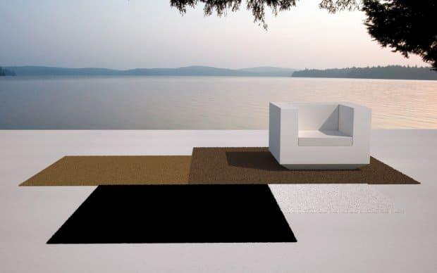 Vondom Vela Outdoor Teppich braun, schwarz, weiß, gold