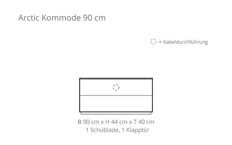 Voice arctic kommode 90 cm breit mit 2 schubladen for Kommode 90 cm