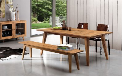 Holzbank Emilia (Oliver-B-Casa) Ambiente - mit Tisch