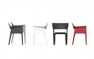 Pedrera Stuhl (Vondom) rot, schwarz, weiß und bronze